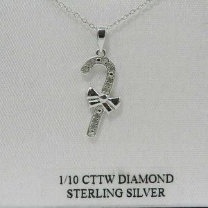 "Macy's Diamond Candy Cane 18"" Pendant Necklace"